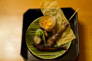 Skewer of local wild boar — and the Shirako is the stuff in the dish...