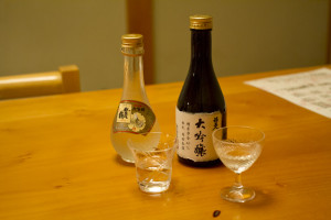 Excellent local sake - the one on the left had gold flakes in it...