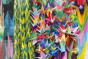 Folded paper cranes at the Children's Peace Monument...