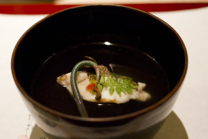 A delicate soup with mountain vegetables and red sea bream...