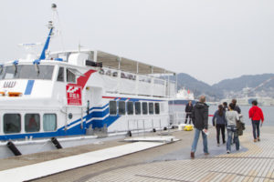 We boarded a ship run by Gunkanjima Concierge for the journey out...