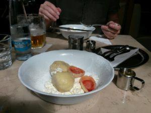 Sharing a portion of ovocné knedlíky at the Savoy Cafe...