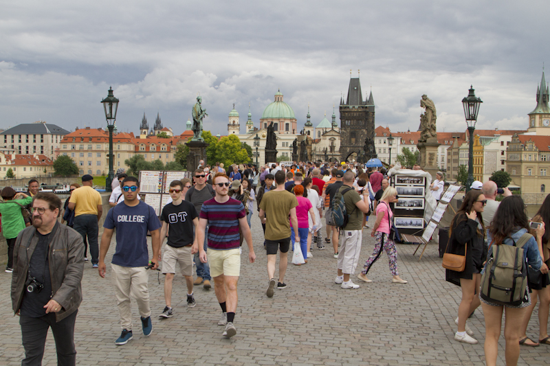 Far too many people crossing the Charles Bridge, most of them tourists...