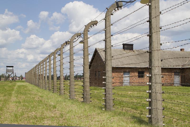 The perimeter fence around Birkenau...