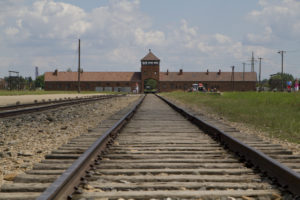 Cattle cars filled with people would enter through that gate at Birkenau and stop at the selection point...