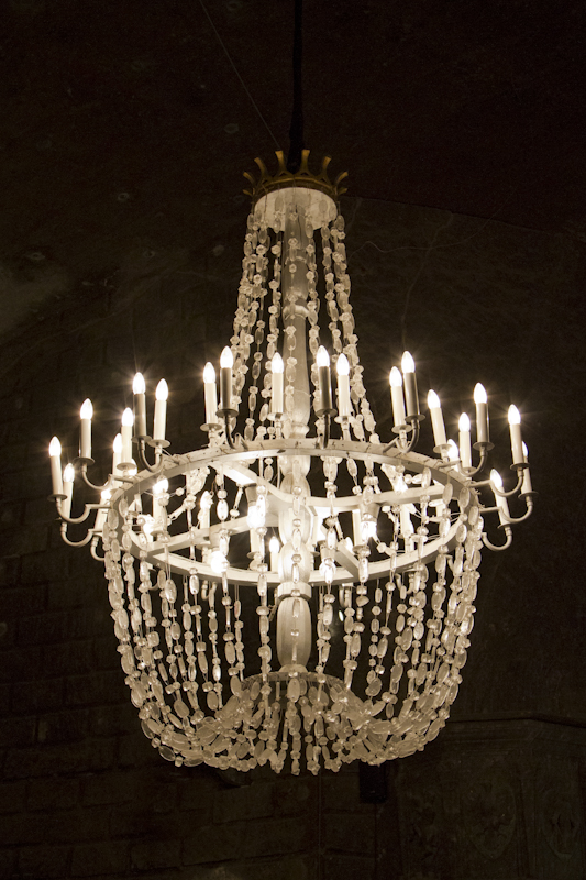 The chandeliers are made of dissolved and reconstituted rock salt...