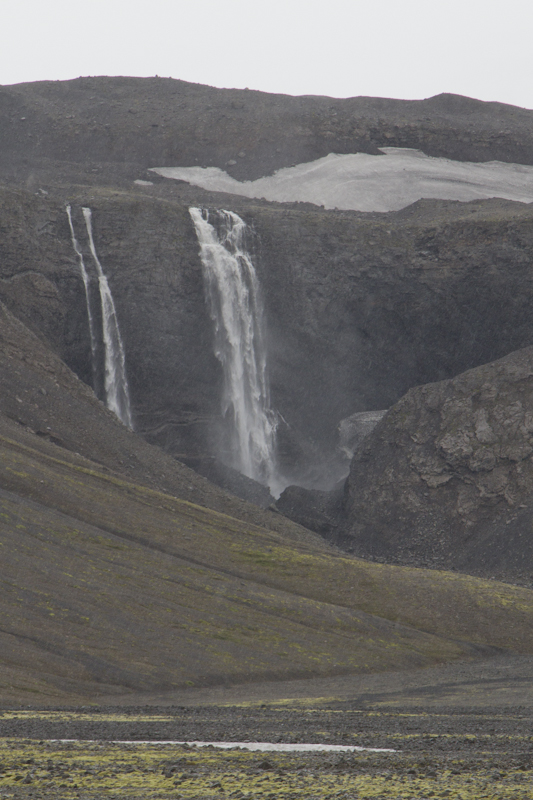 ...and this nameless waterfall is deep in the tourist-free highlands, cascading off the Langjökull ice cap...