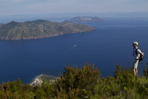 Lipari with it's busy village, Vulcano with it's stink of brimstone, and the coast of Sicily in the hazy distance.