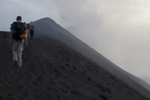 Approaching the north crater of Stromboli through clouds of ash and acrid smoke...