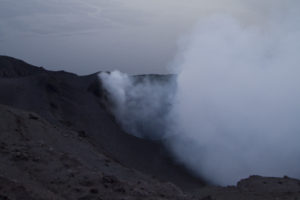 Watching lava spumes from the edge of Stromboli's crater...
